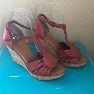 Banana Republic Leather Cork Platform Wedge Sandal